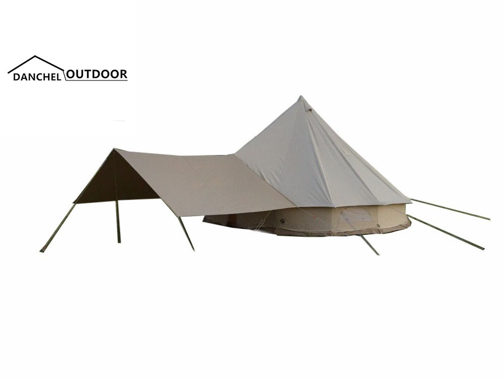 DANCHEL 3M 4M 5M Waterproof  Cotton Canvas Bell Tent with Sun Shelter danchel 4m 5m 900d oxford bell tent with top waterproof awning