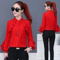 Spring summer 2018 new red women chiffon shirt female ruffles shirt design style fashion lady chiffon blouse tops
