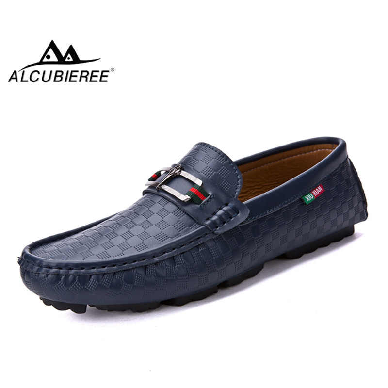 2154fbb96e9b2 ALCUBIEREE Mens Fashion Embossing Loafer Genuine Leather Moccasins Casual  Flexible Driving Shoes for Men size 38