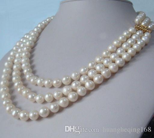 Лидер продаж 3 ряд натуральный 9 10 ММ AKOYA белый жемчужное ожерелье 18 дюймов 19 дюймов 20 дюймов Бесплатная доставка