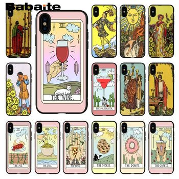 Babaite Egypt mysterious Tarot Black Soft Shell Phone Cover for Apple iPhone 8 7 6 6S Plus X XS MAX 5 5S SE XR Cellphones image