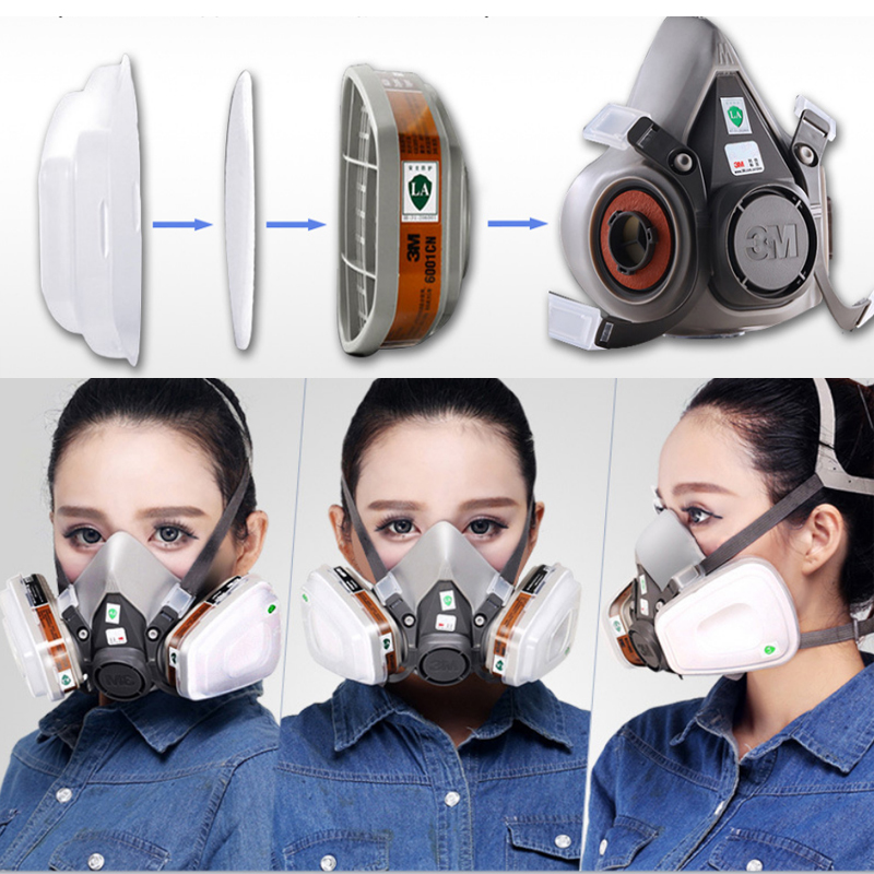 7 In 1 6200 Suit Half Face Gas Mask Respirator Painting Spraying Dust Mask PM2.5 Gas Mask High Quality Drop Shipping