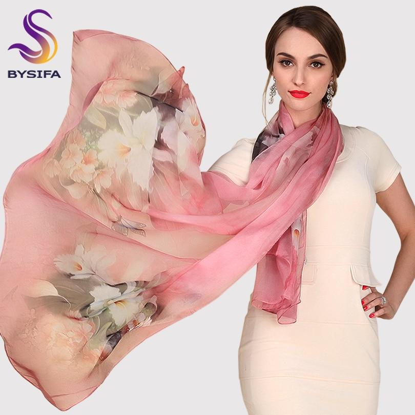 Silk Scarf Mulberry Silk Scarf Lång Design Kvalitet Kvinna Vår och Höst Scarf All-match Fashion Kvinnor Satin Pink Sjal