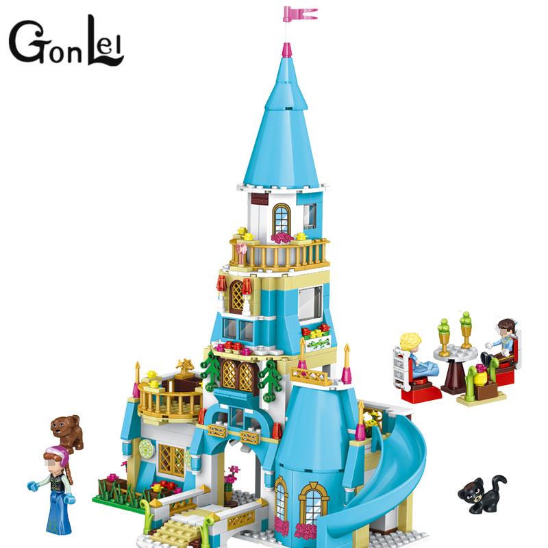 GonLeI New 37008 Girl Friends Princess Anna and The Princess Castle Model Building Kits Blocks Bricks Girl Toys for Lepin the mystery of the blue train