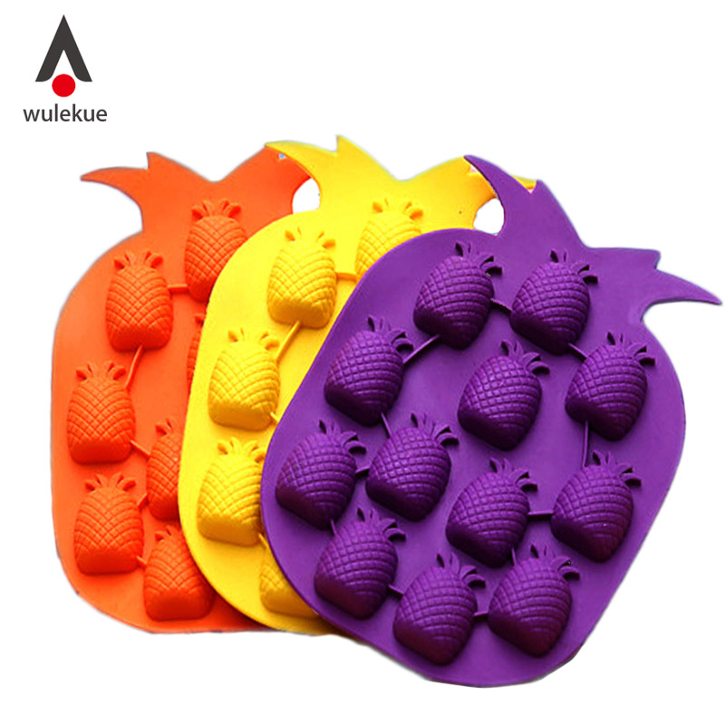 Wulekue Pineapple Shaped Silicone Chocolate Soap Sweet Candy Jelly Sugar Ice Tray Mold Pan Mould Tools