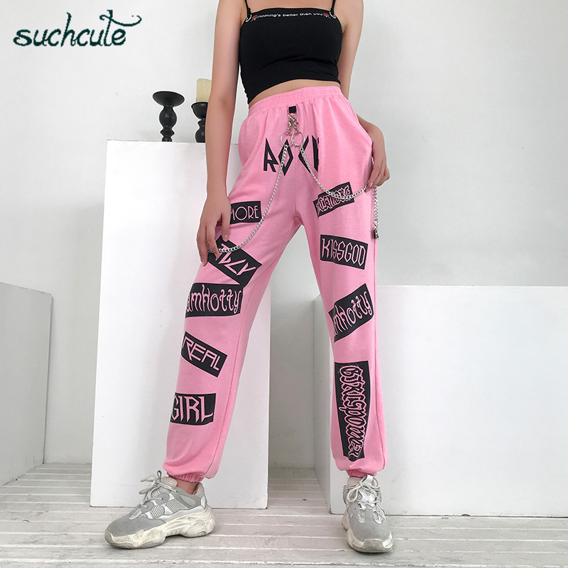 SUCHCUTE Women Pants In A Cage With Print Sports Gothic Female Joggers Korean Style Pantolon Harajuku Plus Size Punk Trousers