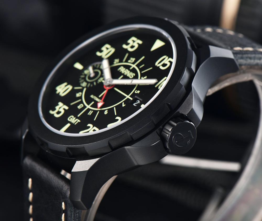 Parins 44 millimetri quadrante nero luminoso mani GMT movimento degli uomini di automatic Casual orologio-in Orologi meccanici da Orologi da polso su  Gruppo 1