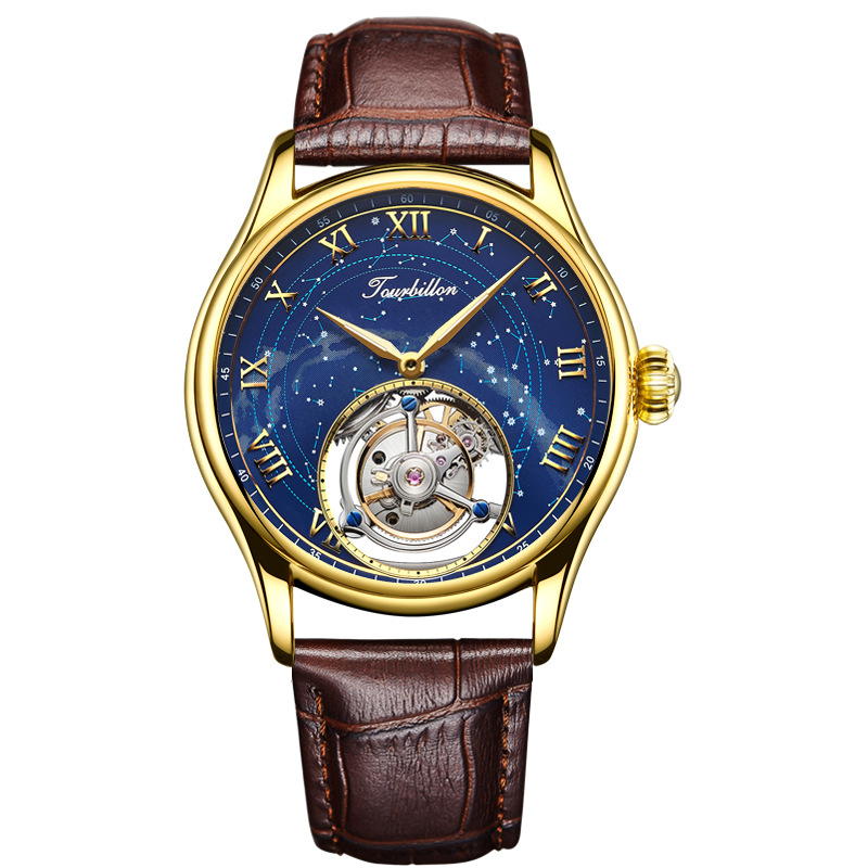 Original Tourbillon Hollow Star Mens Business Automatic Mechanical Watch Brand Luxury Sapphire Leather Clock Relogio Masculino
