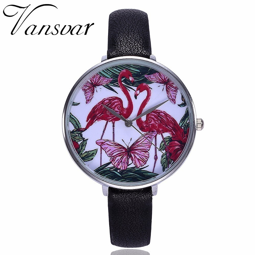 Hot Fashion Women Flamingos Watch Casual Ladies Leather Quartz Wristwatches Relogio Feminino Dropshipping dropshipping vintage women mini design wristwatches fashion casual leather simple quartz watch gift clock relogio feminino