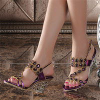 Large Size Women Summer Purple Wedge Sandals 2018 New Korean Luxury Diamond Sexy High heeled Flowers Crystal Shoes
