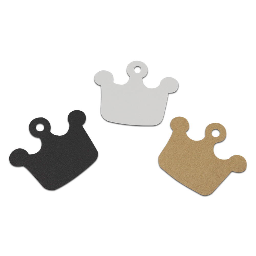 6*5.5cm 100Pcs/Lot Crown Shape Kraft Paper Luggage Hang Tag Party Wedding Favor Price Gift Card Label Brown White Black 3 Colors