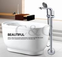 Bathroom Floor Stand Bathtub Faucet Mixer Set Hand Held Shower Chrome Solid Brass Wholesale 3 Sets