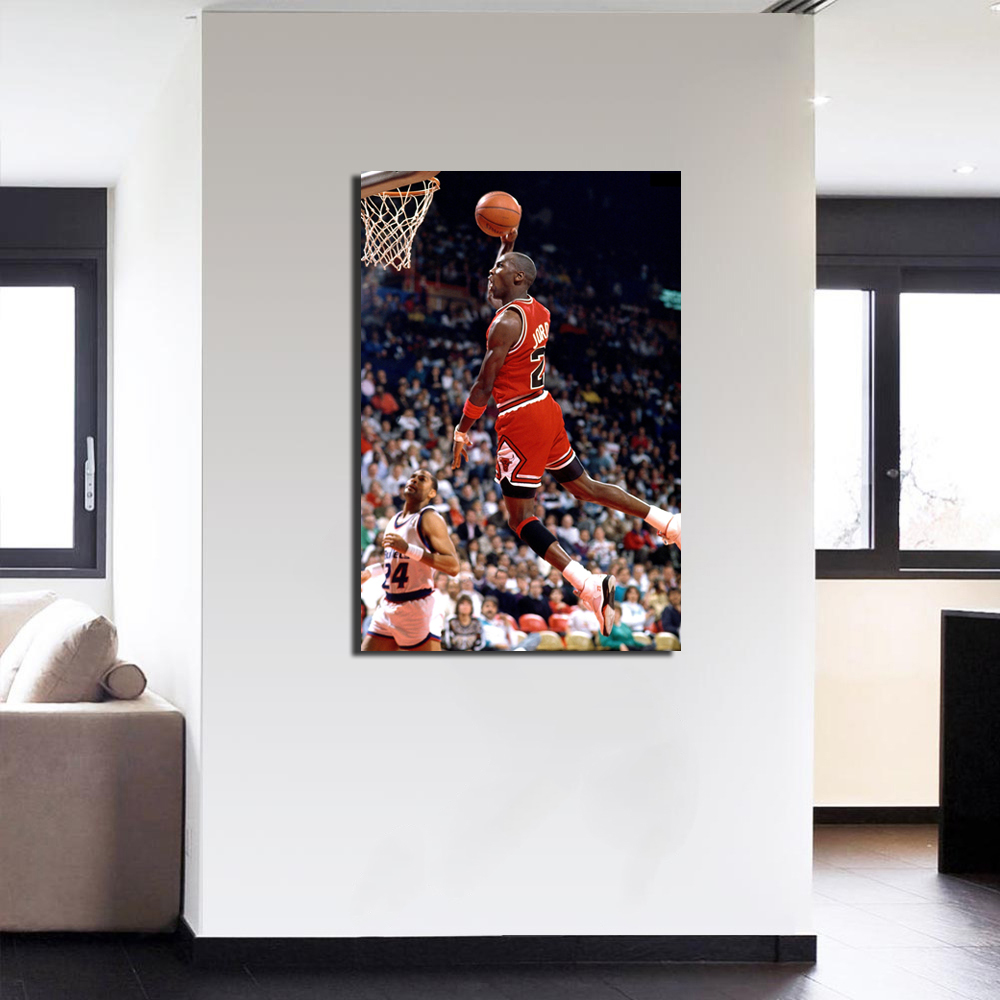 Michael Jordan Dunk Wall Art Basketball Poster Canvas Picture Print For Room  Decor In Painting U0026 Calligraphy From Home U0026 Garden On Aliexpress.com |  Alibaba ...