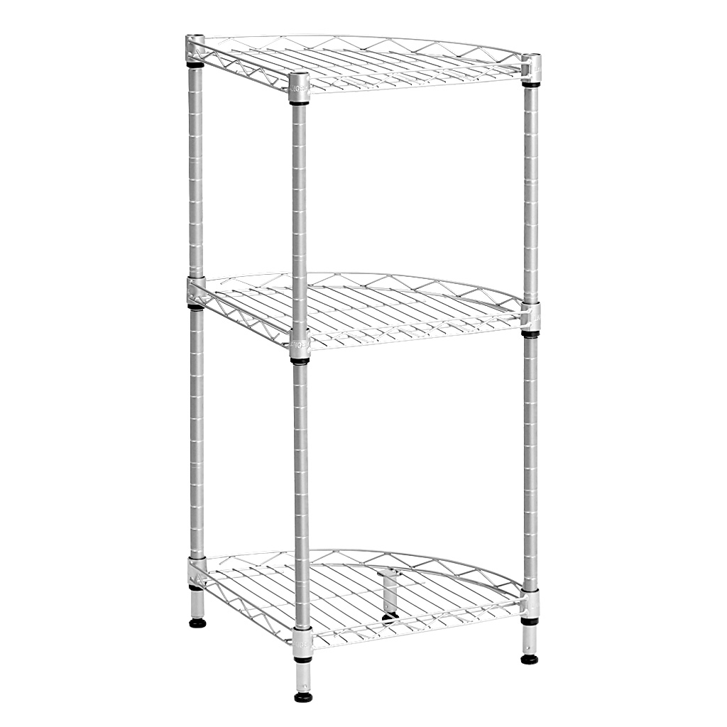 3 Tier Quarter Circle Wire Corner Shelving Unit Free Standing Storage Organization Shelf Rack