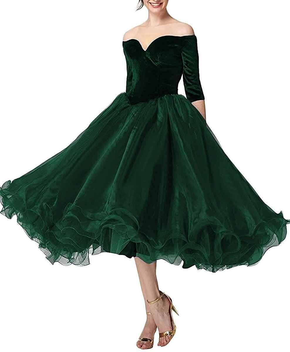 Robe de bal élégante JaneVini robe de bal bordeaux pour femme de grande taille col en V Organza longueur de thé robes de bal formelles Vestidos Largos - 2