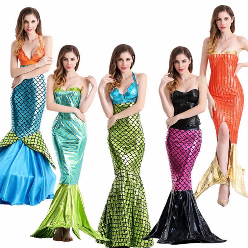 new S-2XL Adult Sexy Mermaid Costume Halloween Ariel Princess Cosplay Dress  Carnival Fancy Sparkling 98ad81fa1631