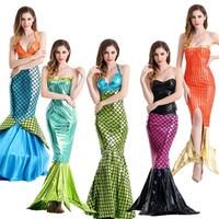 7745be3b8ad New S 2XL Adult Sexy Mermaid Costume Halloween Ariel Princess Cosplay Dress  Carnival Fancy Sparkling Dress