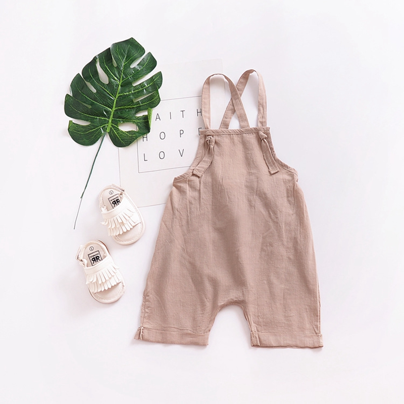 Fashion Toddler Kids Baby Boys Girls Sleeveless Backless Strap Cotton Overall Rompers Jumper Bell Bottom Trousers Summer Clothes