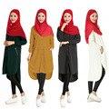 As mulheres Muçulmanas BooLawDee primavera outono elastic spandex camisa longa tops completo manga estilo do vintage botão encerramento tamanho livre T23001