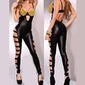 Black Fashion Sexy Women Vinyl Leather Jumpsuit Sexy Rivet Bra Bodysuit Playsuit Overalls Women Rompers DS Dance Costume