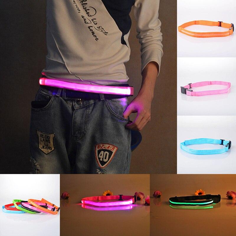 """40-100 ס""""מ LED זוהר חגורת ניילון אבזם סוס מירוץ רכיבה חיצוני ריצה ריצה החלקה בטיחות אזהרת חגורת ציוד Z $"""