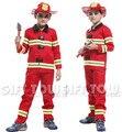 M~XL New 2016 Fireman Boys Cosplay Hallowean Children Dress Up Party Fancy Stage Carnival Costume Kids Firefighters Uniform Suit