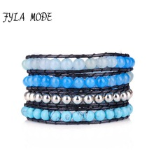 High Quality New Blue Semi Precious Stone With Crystal Leather Wrap Bracelet Semi Precious Stones with Turquoise Beaded Bracelet unique faux turquoise decorative leather bracelet