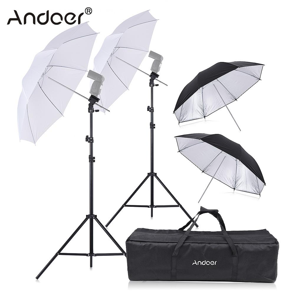 Andoer Double Speedlight Flash Shoe Mount Swivel Soft Umbrella Kit 2 2m Light Stand 2 83cm