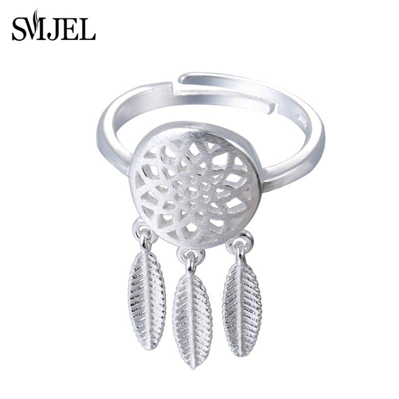 440ad4782f749 SMJEL Novos Acessórios Do Casamento Jóias Étnicas Escovado Borla Penas  Dreamcatcher Anel anel Vintage Anéis para Presente Mulheres Do Partido