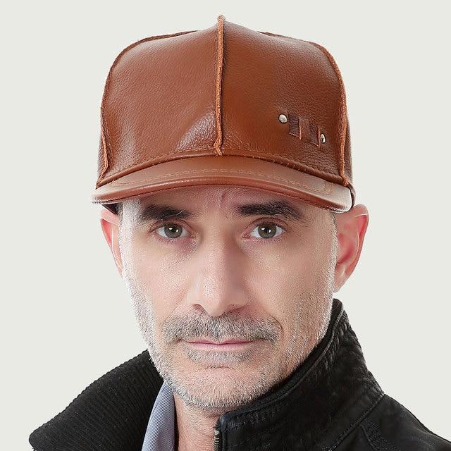 Fashion sheepskin baseball hat cadet cap hat for man genuine leather hat  baseball cap 5 color  B-0603