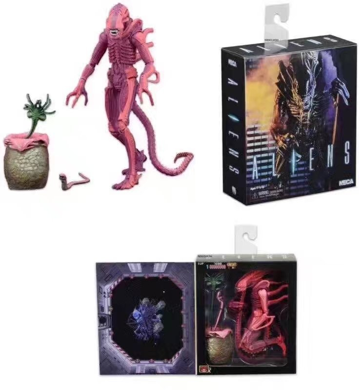Elsadou NECA ALIENS Red Alien with Chestburster & Facehugger PVC Action Figure Collectible Model Toy neca epic marvel deadpool ultimate collectible 1 4 scale action figure model toy 16 45cm ems free shipping