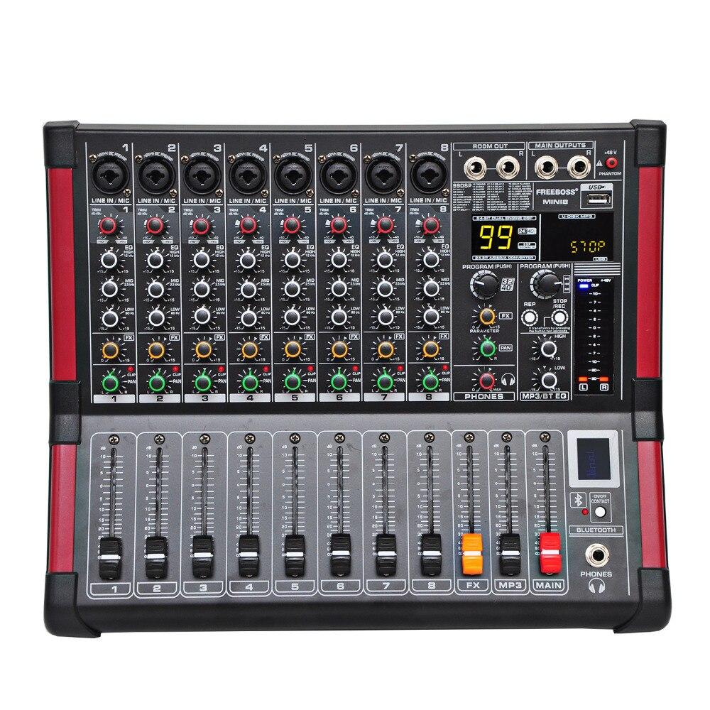 Freeboss MINI8 8 Canaux (Mono) Console De Mixage avec Bluetooth Record 99 DSP effet USB Fonction Professionnel Audio Mélangeur