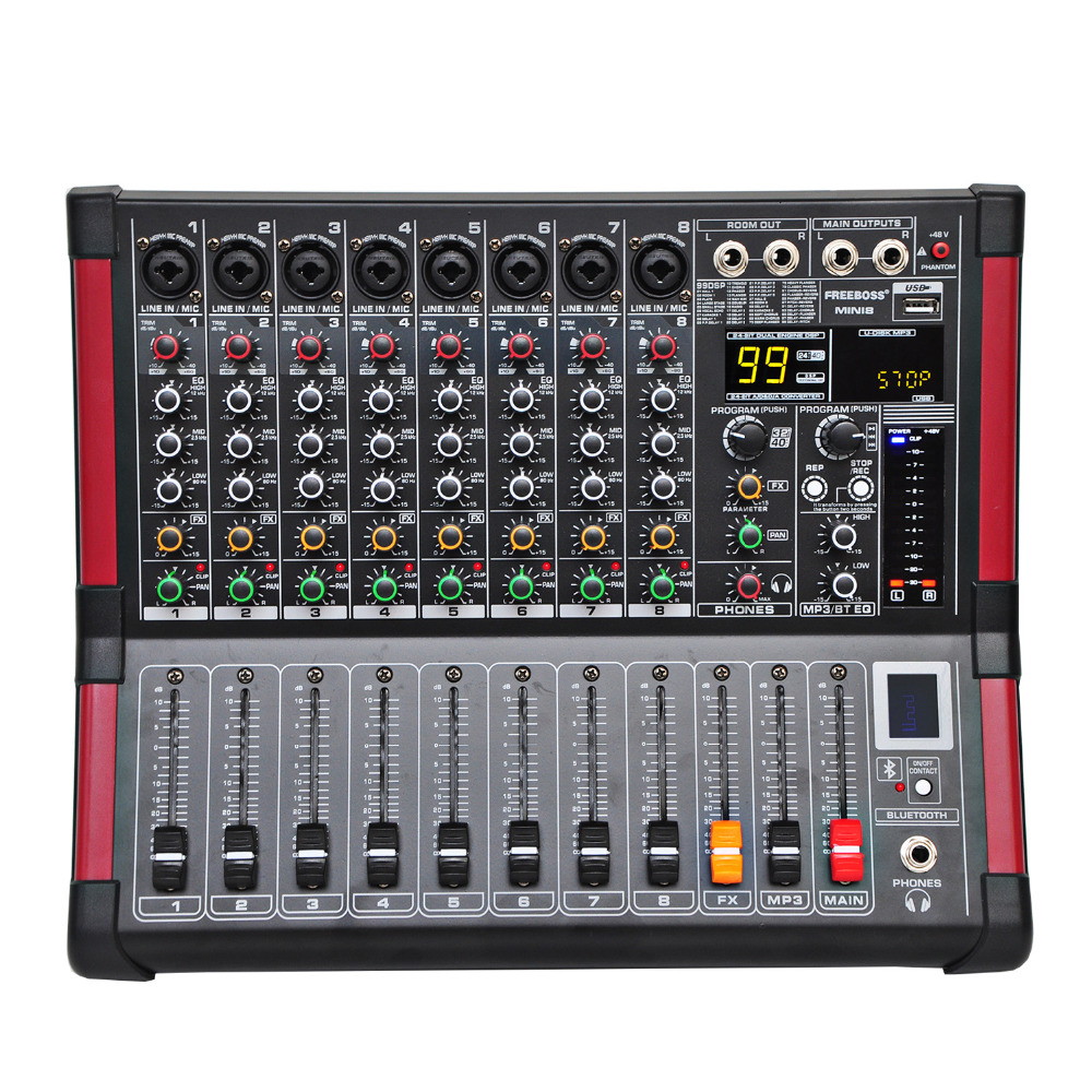 цена Freeboss MINI8 8 Channels (Mono) Mixing Console with Bluetooth Record 99 DSP effect USB Function Professional Audio Mixer