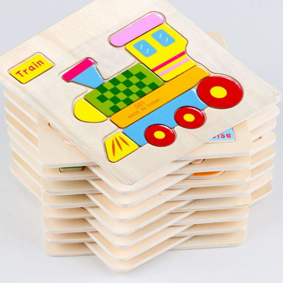 Child Kids Wood Animals Puzzle Transport Puzzles Wooden Educational Toys Games For Children Gifts 24 Styles puzzles toy MBF05 creative 3d diy wooden magnetic puzzle educational animals kids baby jigsaw puzzle toys for children cartoon fallout toy