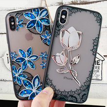 Fashion Phone Cases for iPhone X XS MAX XR 6s 7 8 Plus Fitted Case Lace Flower Soft Silicone Mobile Cell Cover Accessories