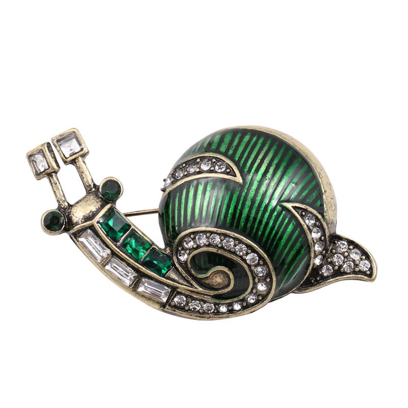 UALGL Fashion Green Snail Brooch Jewelry Lapel Pins Crystal Broches Mujer Animal Brooches For Women Spilla Animale Whosesale