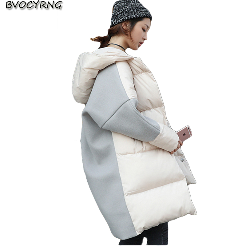 Cotton-padded Clothes Girls Medium Style Coat Han Edition 2017Winter New Joining Together Loose Bread Served Students Warm Park 2015the new women s clothing han edition cotton padded clothes coat long big yards more loose tooling cotton padded jacket