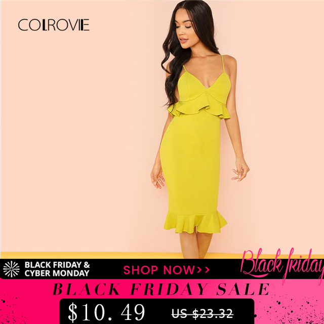 Mustard Ruffle Strapped Deep V Neck Sexy Dress 2018 Autumn Backless ... 74b4537a125d