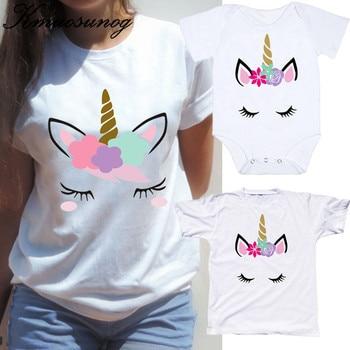07f154122 Trajes familiares a juego mamá niños bebé unicornio Tops verano manga corta madre  hija ropa hermana pequeña B0835