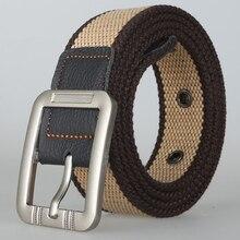 100 cm 110 125 Cinto de Lona Dos Homens Táticas Cintos Cinturon Hombre Casual Belt Cintura Moda Selvagem Listrado Militar