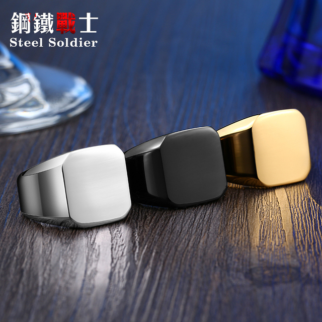 drop shipping Men Unique High Polished Signet Solid ring Fashion 316L Stainless