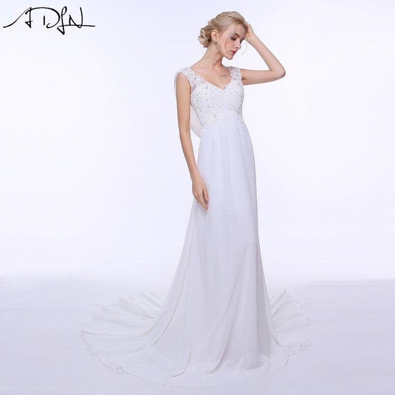 ADLN Empire Wedding Dresses V neck Low Back Chiffon Beach Bridal Gowns White Ivory Vestidos de