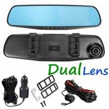 Hd1080p 4.3 Pulgadas de Coches Espejo Retrovisor de La Cámara Auto DVR Lente Dual Dash Cam Video Recorder Registrator Videocámara de Visión Nocturna