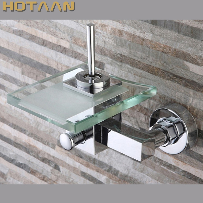 Free shipping Polished Chrome Finish New Wall Mounted Waterfall Bathroom Bathtub Handheld Shower Tap Mixer Faucet YT-5333