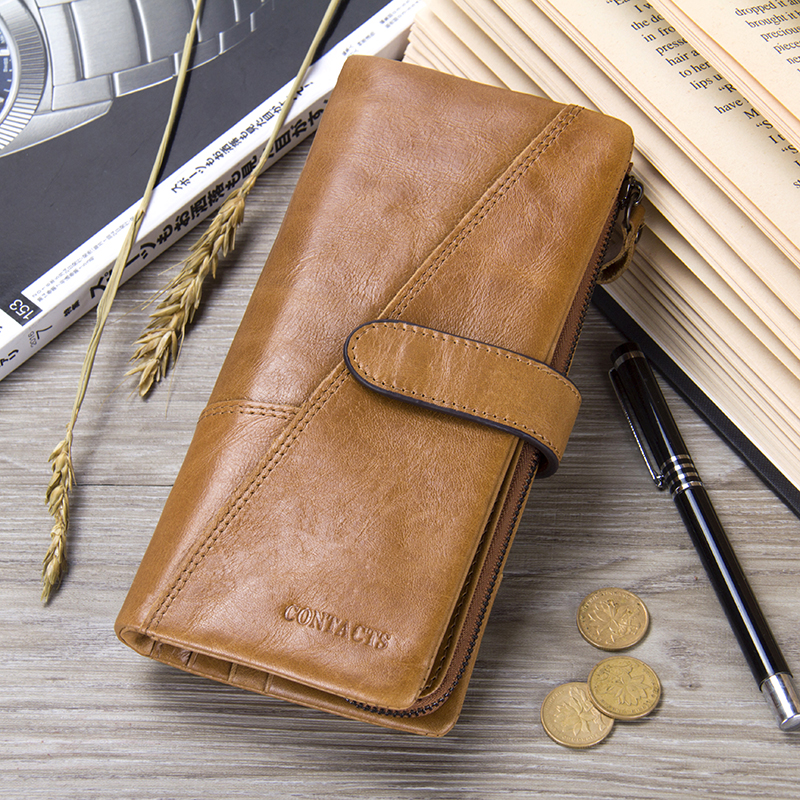 CONTACT\'S Genuine Leather Men Wallet Men\'s Coin Purse Business Card ...