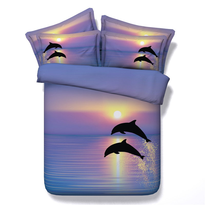 Dolphin Sunset Bedding Sets 3D Painting Vivid Duvet Cover With Pillowcases Twill Bedlinen 3/4pcs Twin Full Queen King Boys Girls