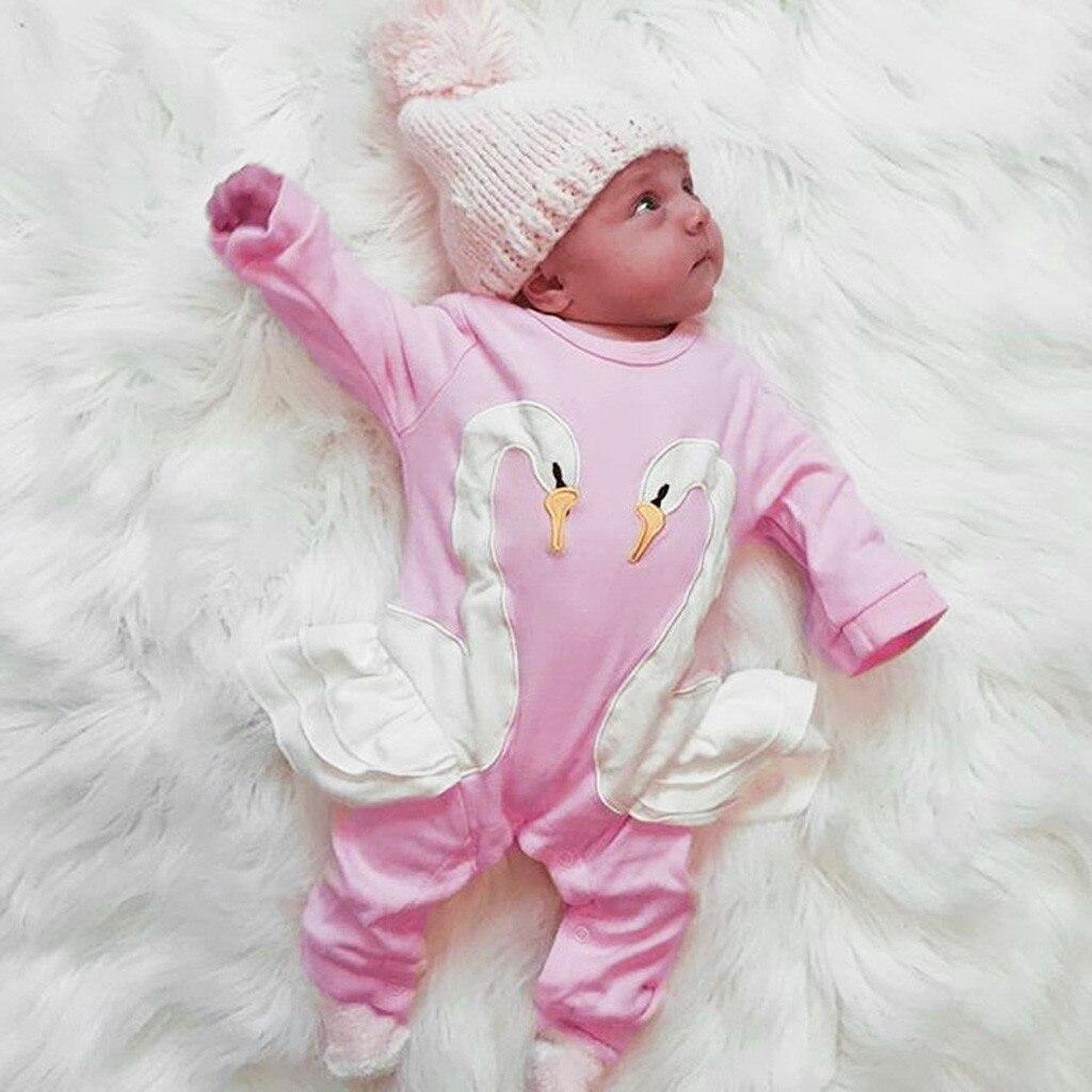 Nourrisson filles broderie 3D Cartoon Swan barboteuse combinaison tenues