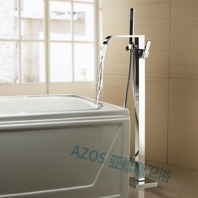 Bathtub Faucets Waterfall Spray Water Mixers Floor Stand With Hand Hold  Bathroom Shower Sauna Kit LDTZ001
