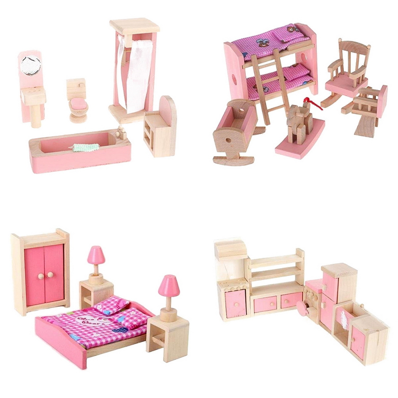 online shop 4 sets poppenhuis miniatuur meubels houten speelgoed