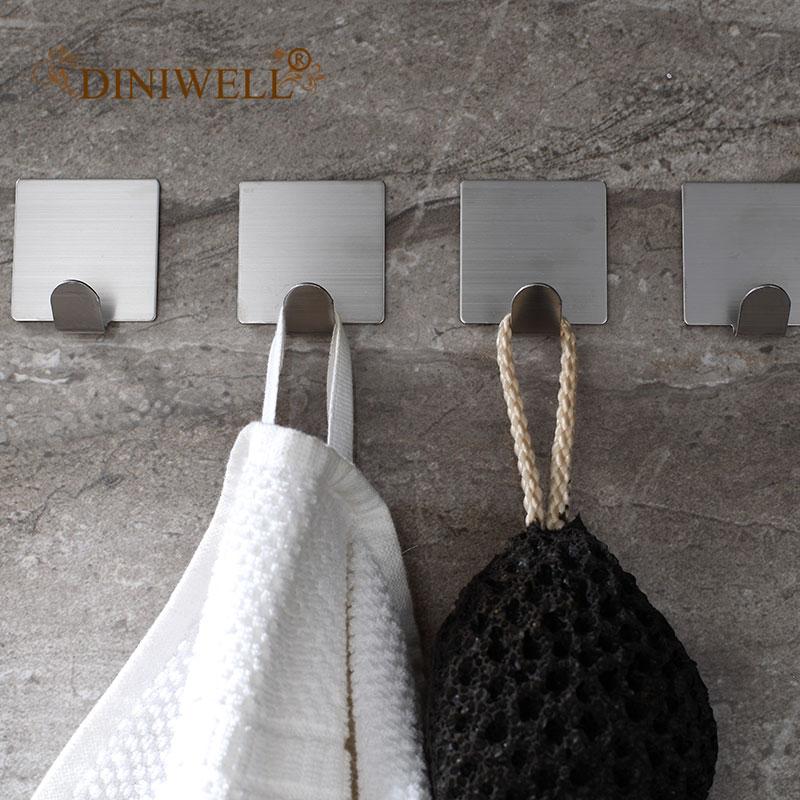 4 Pcs Stainless Steel Wall Hooks Self Adhesive Coat Hooks Waterproof Storage Organizer For Towel Keys Kitchen Tools Bathroom